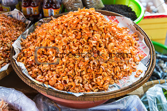 dried shrimp in kep market cambodia