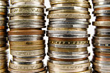 Various coins arranged in stacks