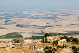 View of the Roofs and Landscape of a Small Town Montalcino in Tuscany