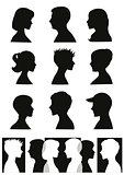 Silhouettes: people profiles and banner