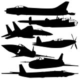 Collection of different combat aircraft silhouettes.