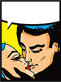 Lovers: Kissing couple man and woman in pop art comic style