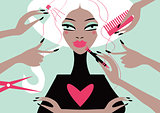 Woman in a beauty salon. Conceptual illustration magazine cover