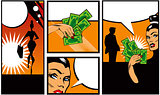 Pop art Comic Book Style Banners with woman man and money Talkin