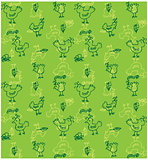 Cute birds seamless background vector Doodled birds seamless pat