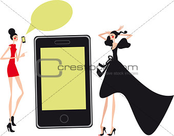 Mobil fashion and shopping girls Talking Social communication