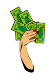 Vector comic female hand with cash money Hand with money isolate
