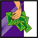 Vector comic female hand with cash money Hand with money on pop 