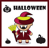 Halloween icon witch dracula card poster background