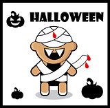 Halloween icon Zombie Mummy card poster background  Cute Hallowe