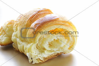 delicious breakfast of fresh puff croissant