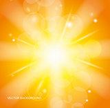 Sun Beams with Orange Yellow Blurred
