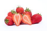 Fresh sliced strawberries isolated on white background