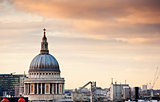 St Paul&#39;s Cathedral in London during beautiful Winter sunset