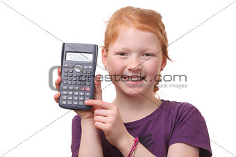 Girl with calculator
