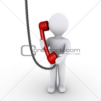 Person is talking on the telephone