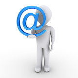 Person with e-mail symbol in his hand