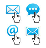 Contact - envelope, email, speech bubble  with cursor hand icons