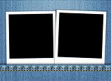 Blank photo frame in blue jeans pocket