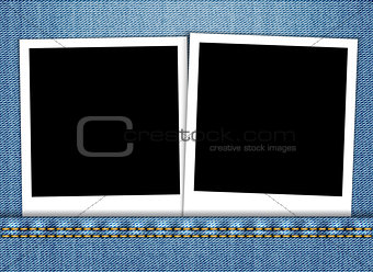 Blank photo frame in blue jeans pocket