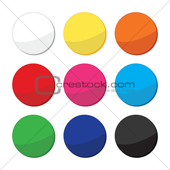 Blank, clean web round buttons set