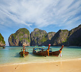 Thai traditional boats. Phi Phi Island
