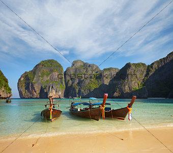 Thai traditional boats. Phi Phi Island