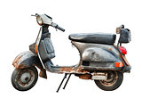 Old scooter on white background