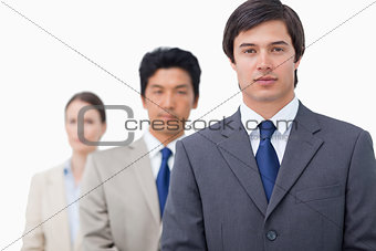 Businesspeople standing in a line