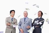 Money raining down on businessteam