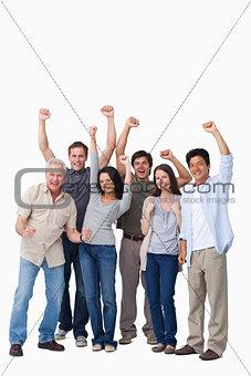 Cheering group of people