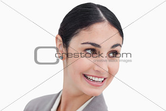 Close up of businesswoman turning her head