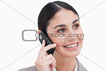 Close up of businesswoman on her cellphone