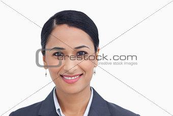 Close up of smiling saleswoman