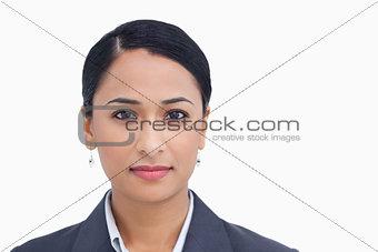 Close up of saleswoman