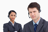 Close up of serious looking call center agents