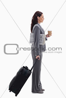 Profile of a businesswoman going for a trip