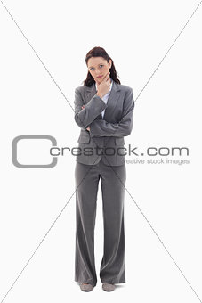 Businesswoman with the hand on her chin