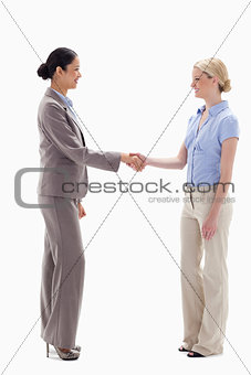 Women shaking hands happily