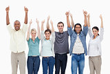 People raising their arms with the thumbs-up