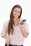 Close-up of a girl holding a mobile phone