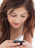 Close up, Woman using her smartphone