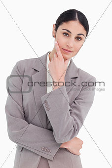 Young businesswoman in thinkers pose