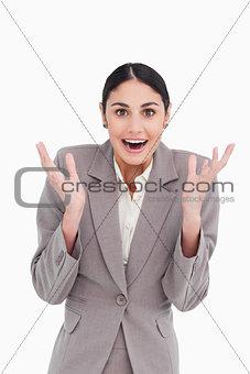 Positive surprised businesswoman
