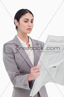 Businesswoman reading the news
