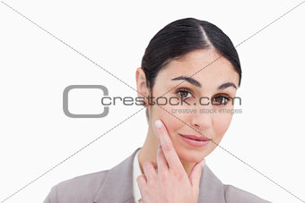 Close up of businesswoman in thinkers pose