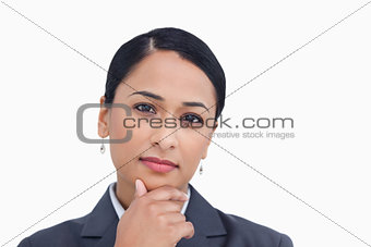Close up of saleswoman in thinkers pose