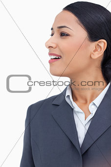 Close up of saleswoman looking to the side