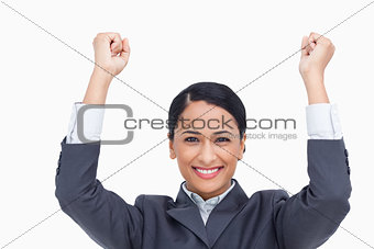 Close up of cheering saleswoman