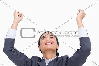 Close up of celebrating saleswoman